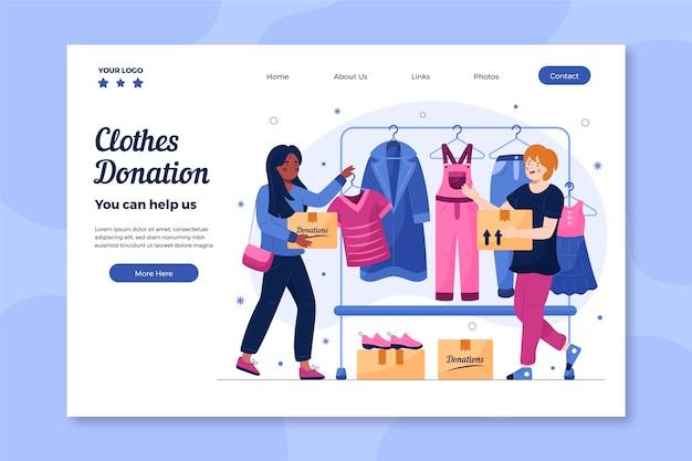 Página inicial de doação de roupas desenhada à mão
