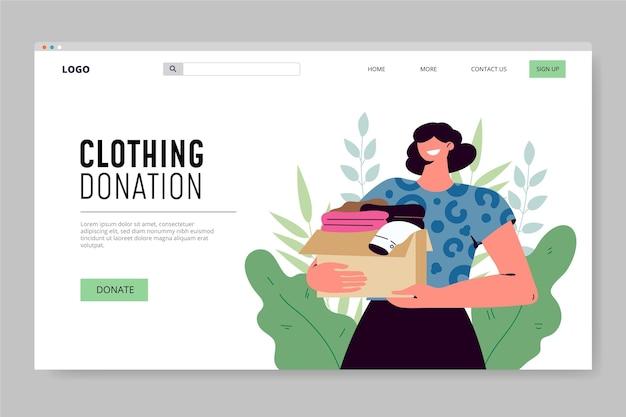 Página inicial de doação de roupas desenhadas à mão plana
