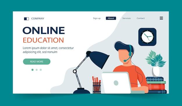 Página inicial de e learning e cursos online