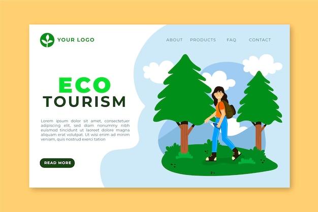 Página inicial de ecoturismo com mulher