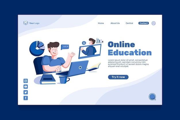 Página inicial de educação online plana
