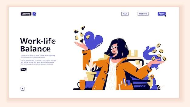 Página inicial de equilíbrio trabalho-vida