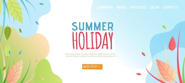 Página inicial de férias de verão em estilo simples.
