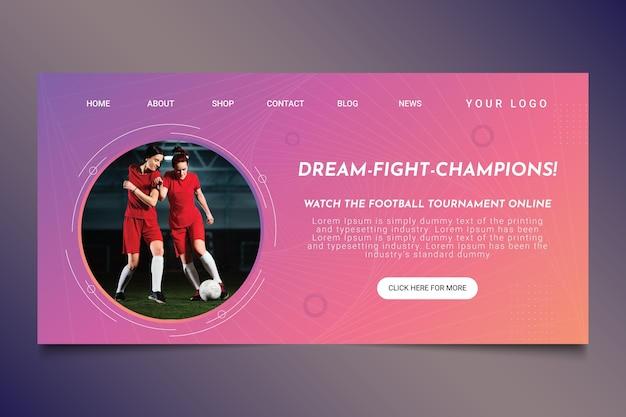 Página inicial de futebol gradiente
