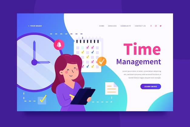 Página inicial de gerenciamento de tempo desenhada à mão