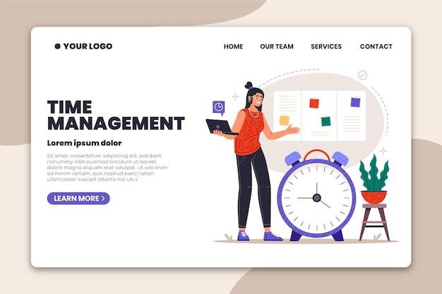 Página inicial de gerenciamento de tempo desenhada