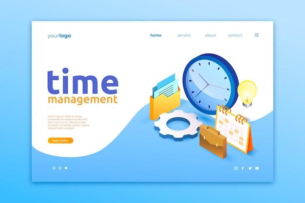 Página inicial de gerenciamento de tempo isométrico