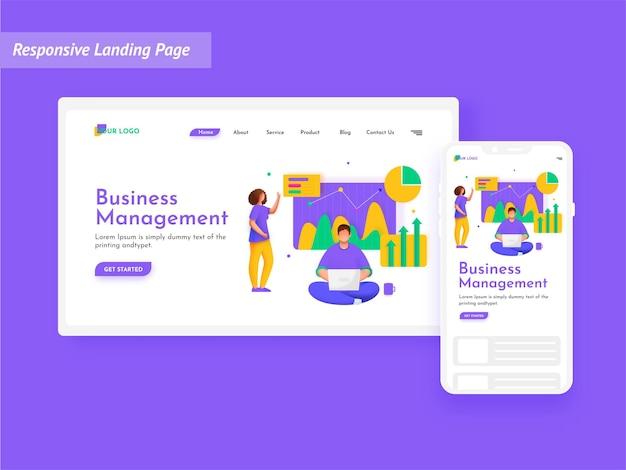 Página inicial de gestão de negócios com caráter de analistas