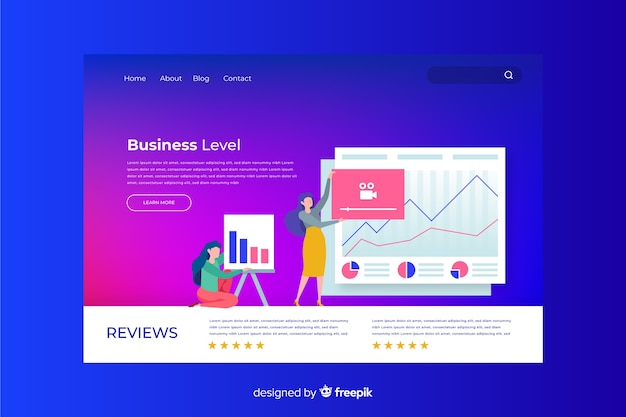 Página inicial de gradiente de negócios com ilustração