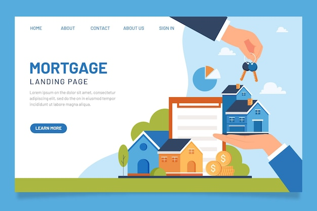 Página inicial de hipoteca de design plano
