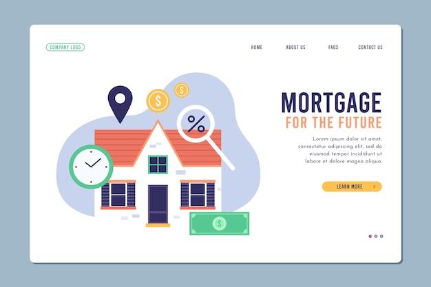 Página inicial de hipoteca de modelo de design plano