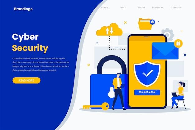 Página inicial de ilustração plana moderna de segurança cibernética.
