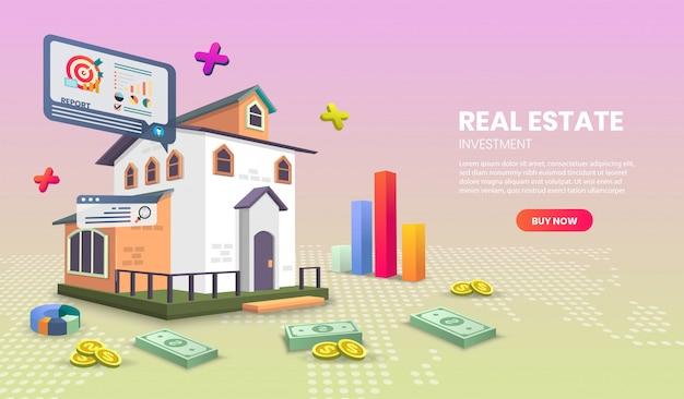Página inicial de imóveis para site ou aplicativo móvel com dinheiro, marketing de conceito e marketing digital.