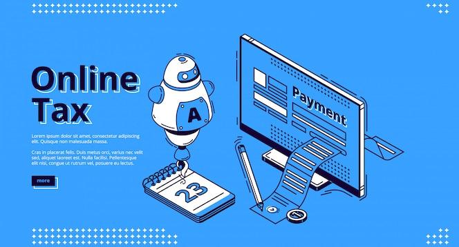 Página inicial de impostos on-line, transações digitais