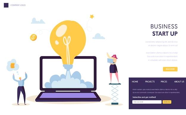 Página inicial de início de ideia criativa de inicialização