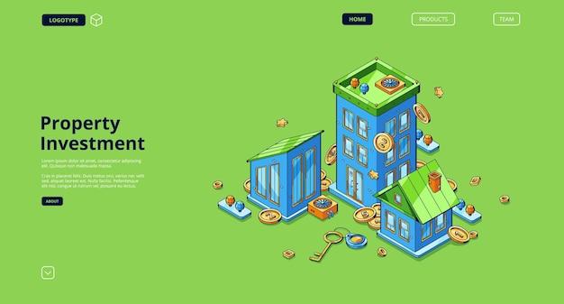Página inicial de investimento em propriedade com dinheiro e chave de casas isométricas
