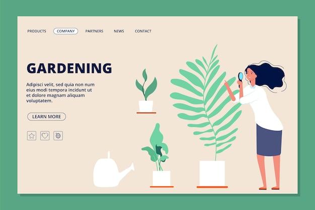 Página inicial de jardinagem. mulher e plantas, jardim botânico ou estufa.