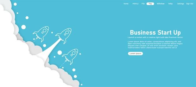 Página inicial de lançamento de produto de conceito de lançamento de foguete