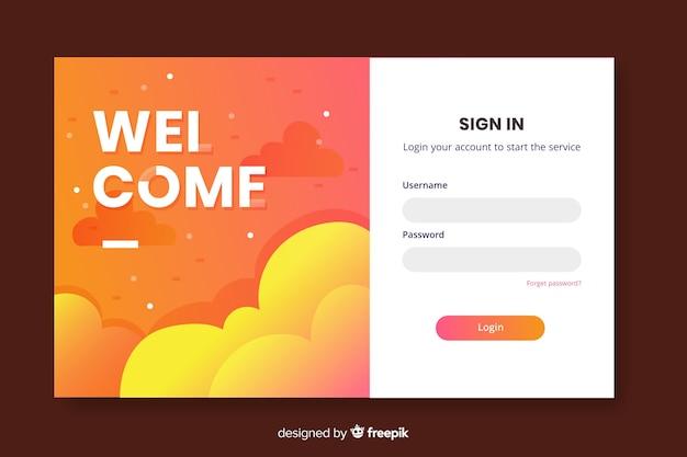 Página inicial de login de boas-vindas