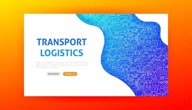 Página inicial de logística de transporte. ilustração em vetor de outline design.