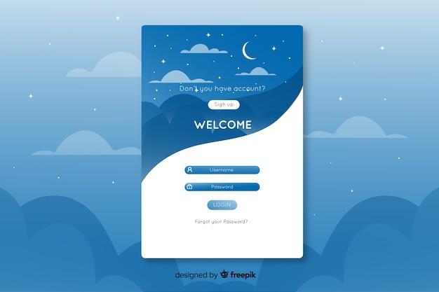 Página inicial de logon de design exclusivo com céu estrelado
