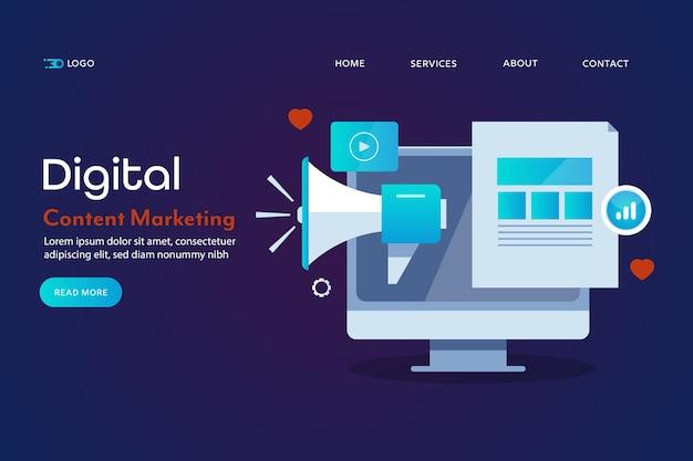 Página inicial de marketing de conteúdo digital