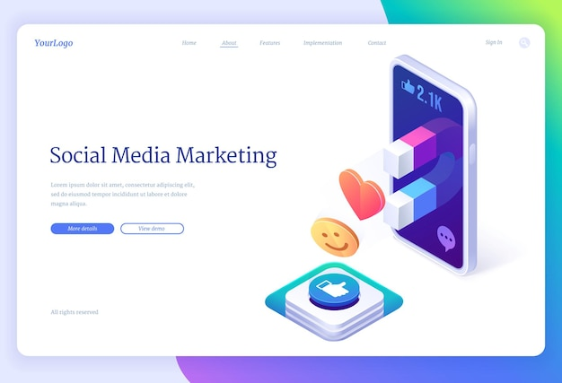 Página inicial de marketing de mídia social