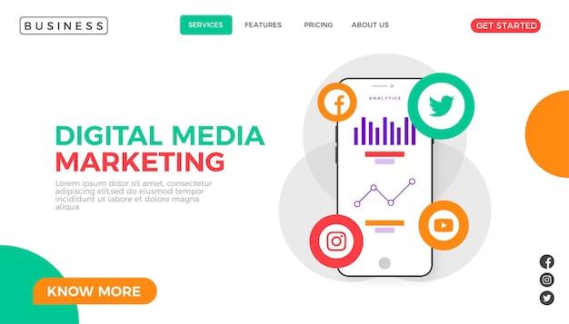 Página inicial de marketing digital criativo