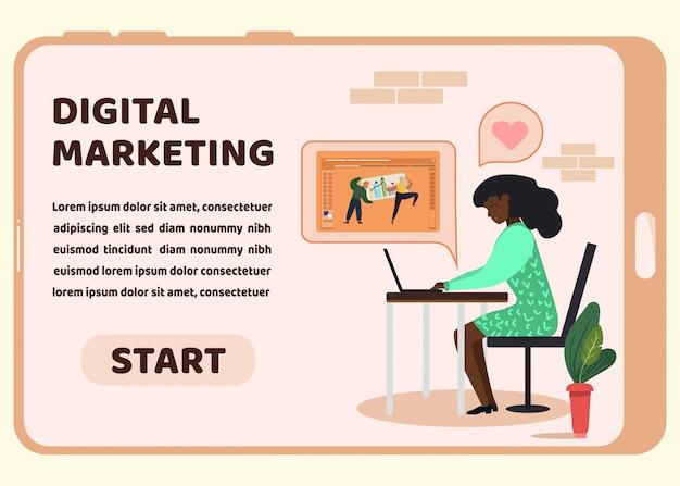 Página inicial de marketing digital na tela do telefone
