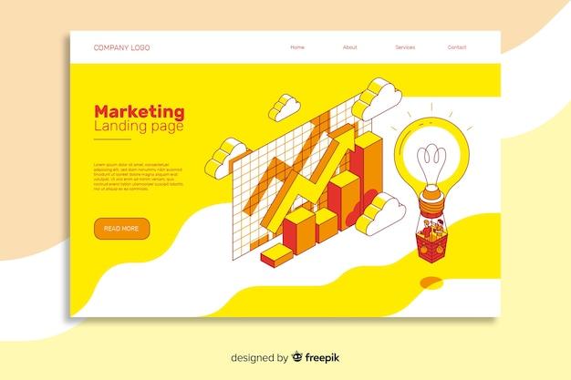 Página inicial de marketing em design isométrico