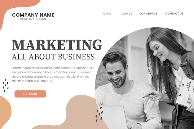 Página inicial de marketing empresarial