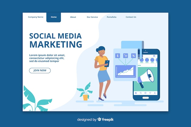 Página inicial de marketing para mídias sociais
