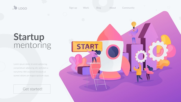Página inicial de mentoria de startups