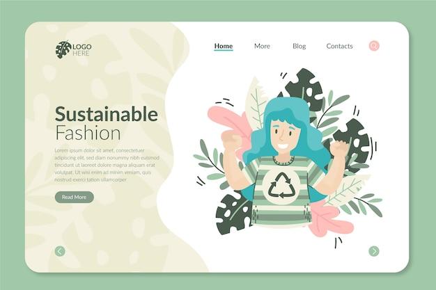 Página inicial de moda sustentável desenhada à mão plana