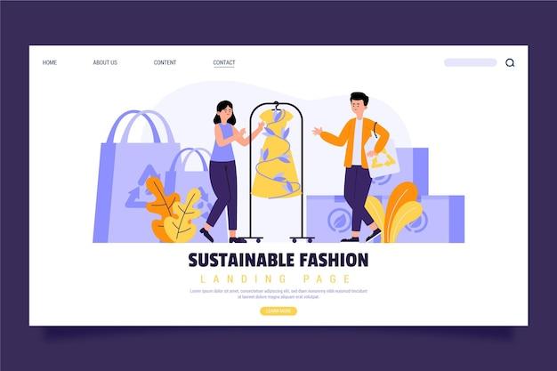 Página inicial de moda sustentável desenhada à mão