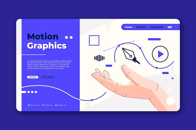 Página inicial de motiongraphics de design plano