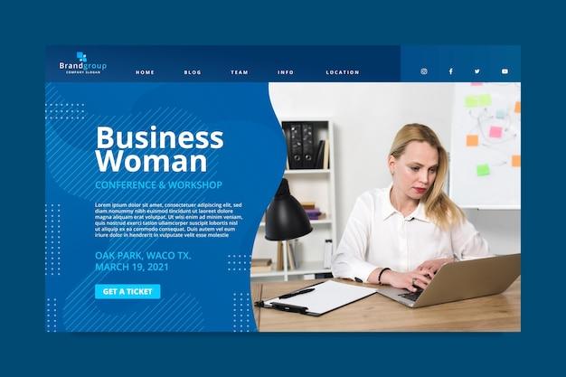 Página inicial de mulher de negócios