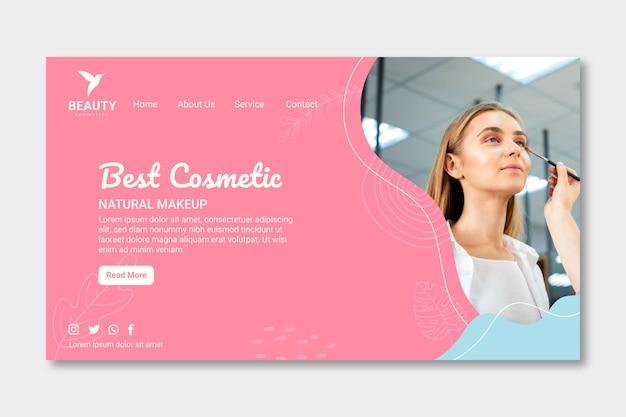 Página inicial de mulher usando maquiagem natural
