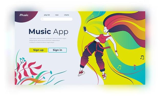 Página inicial de música. personagens de desenhos animados felizes ouvindo música e podcast, educação e treinamento online. conceitos de estilo de vida da página de streaming de humor contemporâneo de ilustração vetorial