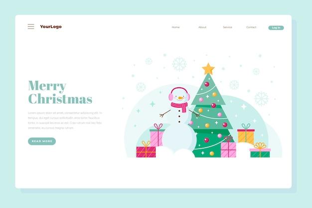 Página inicial de natal com árvore de natal e presentes