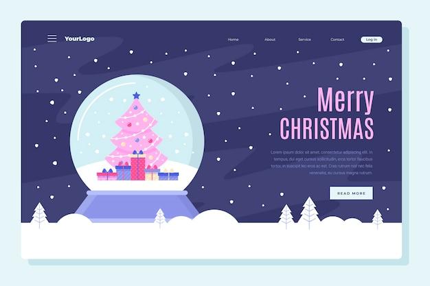 Página inicial de natal com árvore e globo de natal