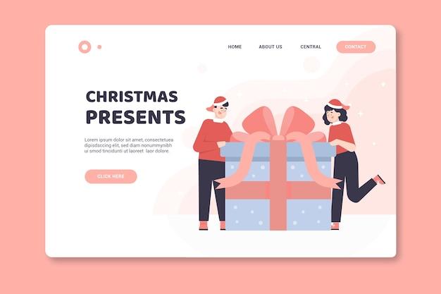 Página inicial de natal com presentes