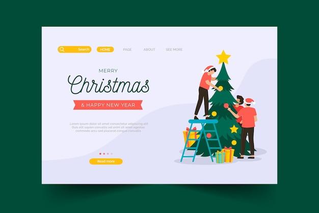 Página inicial de natal de design plano