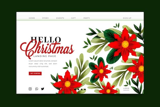 Página inicial de natal em aquarela com flores