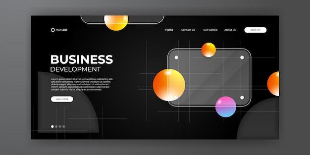 Página inicial de negócios com fundo 3d moderno abstrato. moderno fundo líquido abstrato para o design da sua página de destino. plano de fundo mínimo para designs de sites.