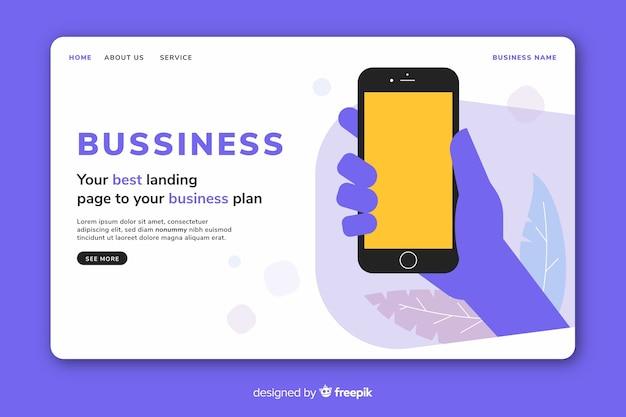 Página inicial de negócios com modelo de telefone