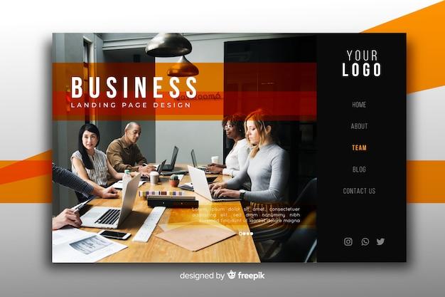 Página inicial de negócios modernos com foto