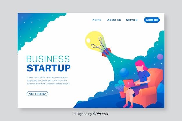 Página inicial de negócios para inicialização