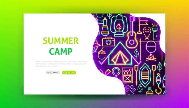Página inicial de néon do acampamento de verão. ilustração em vetor de promoção ao ar livre.