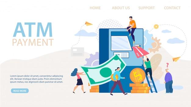 Página inicial de pagamento em caixas eletrônicos e transações financeiras